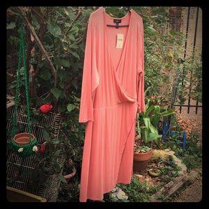 Forever21 New Mock Wrap Peach Rayon Spandex Dress
